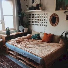 Ý tưởng thiết kế phòng ngủ ấn tượng từ giường gỗ pallet
