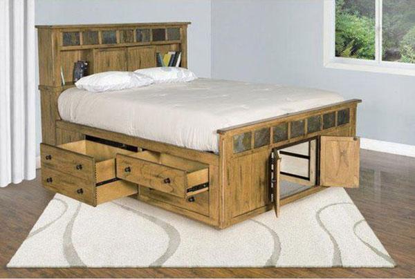 Giường thông minh làm từ gỗ thông dạng thô