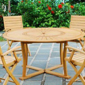 Mẫu bàn gỗ thông dạng tròn - giải pháp lý tưởng trong sân vườn hoặc dùng cho quán cafe, resort...