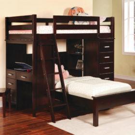 Giường tầng làm từ gỗ thông với thiết kế sang trọng, hiện đại