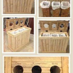 Tận dụng những thanh gỗ thông bỏ đi làm thùng phân loại rác