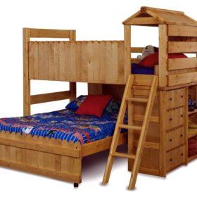 Ý tưởng thiết kế giường cho bé thích các hoạt động khám phá, có kết hợp thêm tủ đồ nhỏ vô cùng gọn gàng, tiện lợi