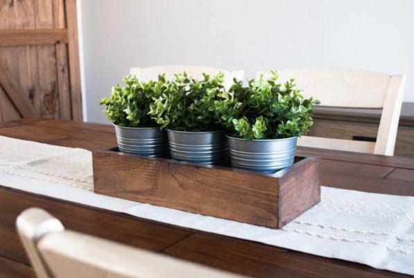 Khay gỗ đa năng trồng cây trang trí bàn ăn