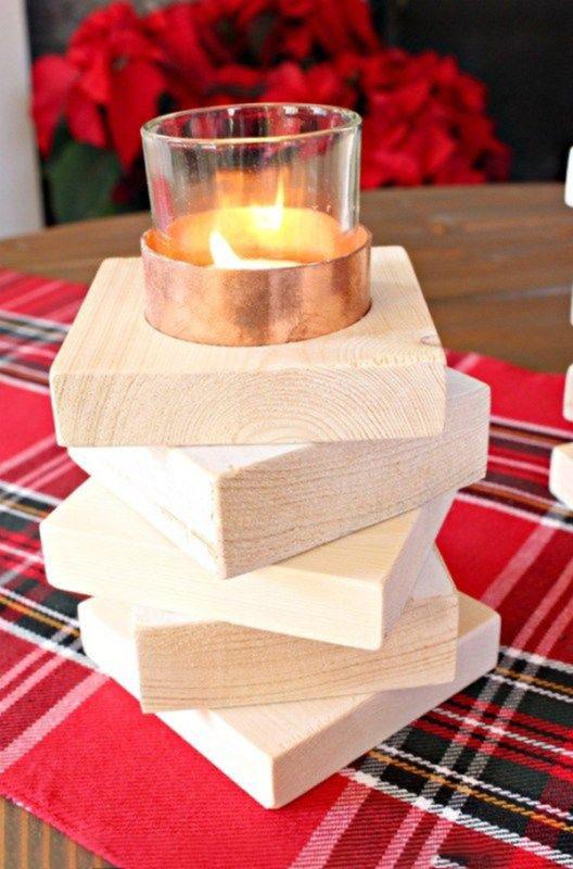 Đèn nến, đế ly gỗ xếp tầng làm từ gỗ pallet